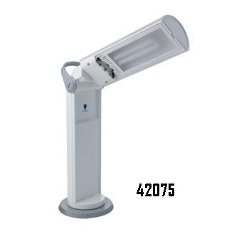 Lampada portatile orientabile bianca/grigia
