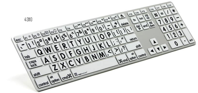 Tastiera a caratteri ingranditi bianco/nero Apple